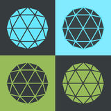 Vector Polyhedron Flat Design Pop-art Colour Set Illustration Royalty Free Stock Image