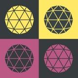 Vector Polyhedron Flat Design Retro Colour Set Illustration Royalty Free Stock Image