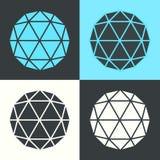 Vector Polyhedron Hexagon Ball Flat Design Set Illustration stock illustration