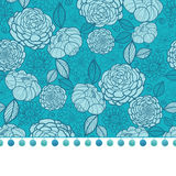Vector pompom border trim on blue flowers seamless repeat pattern design background print. Perfect for clothing, fabric. Home decor, wrapping projects. Surface Royalty Free Stock Photos