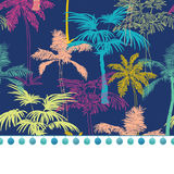 Vector Pompom Border Trim On Dark Blue Colorful Geometric Palm Trees. Repeat Seamless Pattern Background. Can Be Used For Fabric, Wallpaper, Stationery Stock Image