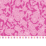 Vector pompom border trim on pink flowers seamless repeat pattern design background print. Perfect for clothing, fabric. Home decor, wrapping projects. Surface Stock Photo