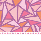 Vector pompom border trim on pink triangles mosaic seamless repeat pattern design background print. Perfect for clothing. Fabric, home decor, wrapping projects Stock Photo