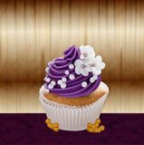 Vector poner crema realista de la torta stock de ilustración