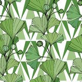 Vector Ponga verde la hoja del ginkgo Modelo inconsútil del fondo Textura de la impresión del papel pintado de la tela en el fond libre illustration
