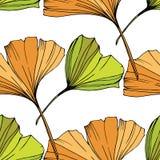 Vector Ponga verde la hoja del ginkgo Modelo inconsútil del fondo Textura de la impresión del papel pintado de la tela en el fond stock de ilustración