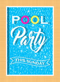Vector pool party invitation design. Template for flyer and poster. Royalty Free Stock Photo