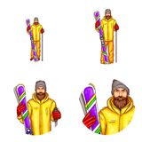 Vector pop art avatar, icon for blog, chat of snowboarder - cartoon bearded man in snowboarding suit, holding snowboard. Vector pop art avatar of snowboarder Royalty Free Stock Image
