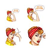 Vector pop art avatar, icon for chat with confident lady, housewife with rolled up sleeves talks We can do it, girl. Vector pop art avatar for chat, blog Stock Photo