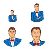 Vector pop art avatar, icon of handsome man in costume, bow tie with folded hands over his chest. Great for blog, chat. Stock Photography