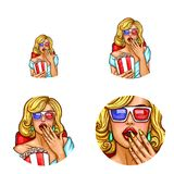 Vector pop art avatar, icon of pin up sexy girl in 3d glasses inside the cinema with popcorn, soda. Logo for chat, blog. Vector pop art avatar, icon of pin up Stock Photo