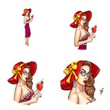 Vector pop art avatar of pin up sexy girl with cocktail. Icon for chat, blog. Great for invitations to parties. Vector pop art avatar of pin up sexy girl in a Stock Images