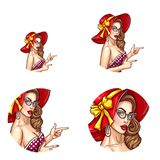 Vector pop art avatar of pin up girl. Icon for chat, blog, invitations, advertising discounts and sales. Vector pop art avatar of pin up girl in a red hat with vector illustration