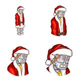 Vector pop art avatar of Christmas robot. Vector pop art avatar of robot in Santa Claus costume. Android in red jacket, cap, new year concept. Element for chat stock illustration