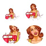 Vector pop art avatar of woman dressmaker for chat, blog. Icon of tailor, seamstress in atelier with sewing machine. Vector pop art avatar of smiling woman Stock Photography