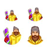 Vector pop art avatar of snowboarder, icon of cartoon bearded man in snowboarding suit, holding snowboard for chat, blog. Vector pop art avatar of snowboarder Royalty Free Stock Image