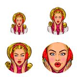 Vector pop art social network user avatars of young blonde glamor woman girl in winter ear muffs. Retro sketch profile. Vector pop art avatars for social network Stock Photo