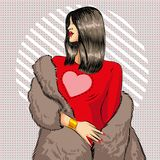 Vector pop art beautiful brunette woman in fur coat. Vector illustration of beautiful young woman wearing red dress and fur coat. Sexy brunette pin-up girl in Stock Image