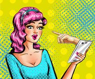 Vector pop art beautiful woman with smartphone Royalty Free Stock Photos