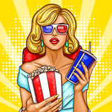 Vector pop art blond woman sitting in the auditorium and watching a 3D movie. Royalty Free Stock Photos