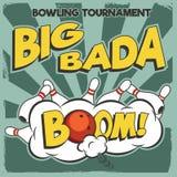 Vector pop-art bowling illustration on a vintage background. Stock Images