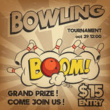 Vector pop art bowling illustration on a vintage background. Bowling strike. Retro bowling tournament poster design Royalty Free Stock Photos