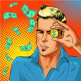 Vector pop art businessman looking at gold dollar coin. Vector illustration of businessman looking at gold dollar coin while squinting his eyes. Business success Stock Images