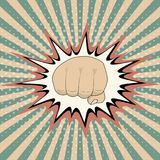 Vector pop art cartoon fist comic book crash explosion graph, Vintage Pop Art Punching Fist Clenched hitting Royalty Free Stock Image