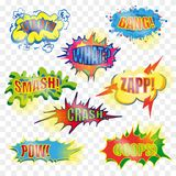 Vector pop art comic explosive bubble set. Vector vintage pop art comic spiky shape, speech and explosion bubble set with fashion phrases and expressions Bang Royalty Free Stock Photos