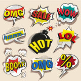 Vector pop art comic speech bubble set with abbreviations. Vector vintage pop art comic speech and explosion bubble set with the most used words and Stock Image