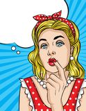 Vector pop art comic style illustration of a beautiful young woman is thinking and keep finger near her mouth. Retro style girl trying make decision Stock Photos