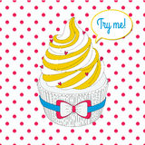 Vector pop art cupcake in bright yellow, blue and red colors. Us Royalty Free Stock Photos