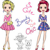 Vector Pop Art cute fashion girls with dog and cat Stock Images