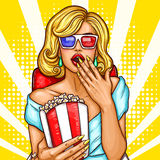 Vector pop art excited blond woman sitting in the auditorium and watching a 3D movie.