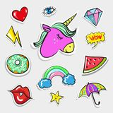 Vector pop art fashion quirky and cute badges, patches. Vector vintage pop art quirky badges and patches set. Cute heart, eye, lips, unicorn, slice of watermelon Royalty Free Stock Photography