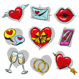 Vector pop art fashionable love badges set Stock Photos