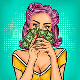 Vector pop art girl with cash. In hand vector illustration