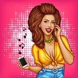 Vector pop art girl listening music in headphones. Vector pop art pin up summer girl listening to music in wireless headphones from smartphone. Happy brunette royalty free illustration
