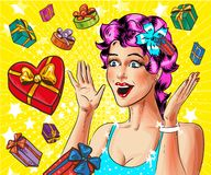 Vector pop art happy young woman with gift boxes. Vector illustration of happy surprised young woman and gift boxes around her in retro pop art comic style Stock Photography