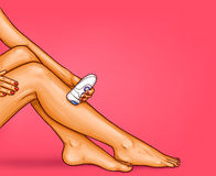 Vector pop art illustration of beautiful well-groomed female legs with electric epilator. The concept of body care, hair removal, epilation at home, beauty Stock Photo