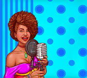 Vector pop art illustration of a black woman sings in vintage microphone. Vector pop art illustration of a black woman singer holding a microphone. Afro-American Stock Image