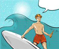 Vector pop art illustration of boy riding on ocean wave. Vector illustration of young man standing on surfboard and riding on ocean wave, speech bubble. Water Stock Image