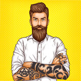 Vector pop art illustration of a brutal bearded man, macho with tatoo. Folded his arms over his chest Royalty Free Stock Images