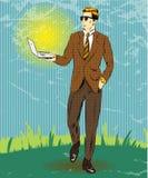 Vector pop art illustration of businessman holding laptop Stock Photo