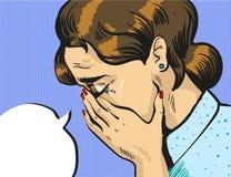 Vector pop art illustration of crying woman Stock Photos
