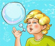 Vector pop art illustration of cute kid blowing bubbles Royalty Free Stock Photos