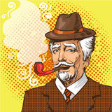 Vector pop art illustration of elderly man smoking pipe. Vector illustration of senior man smoking pipe in retro pop art comic style Royalty Free Stock Photo