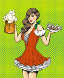 Vector pop art illustration of girl with beer and fish. Vector illustration of pretty girl waitress with beer and fish. Oktoberfest beer festival concept in Stock Images