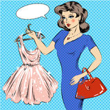 Vector pop art illustration of girl with cocktail dress. Vector illustration of pretty girl holding hanger with cocktail dress, speech bubble. Shopping concept Royalty Free Stock Photography
