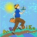 Vector pop art illustration of happy boy running to school Stock Photography